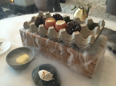 Pine-smoked eggs